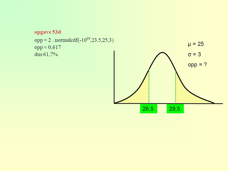 opgave 53d opp = 2 . normalcdf(-1099,23.5,25,3) opp ≈ 0,617. dus 61,7% μ = 25. σ = 3. opp = 26,5.