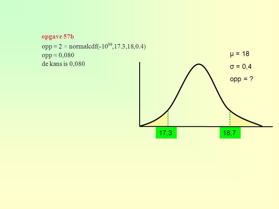opgave 57b opp = 2 × normalcdf(-1099,17.3,18,0.4) opp ≈ 0,080. de kans is 0,080. μ = 18. σ = 0,4.