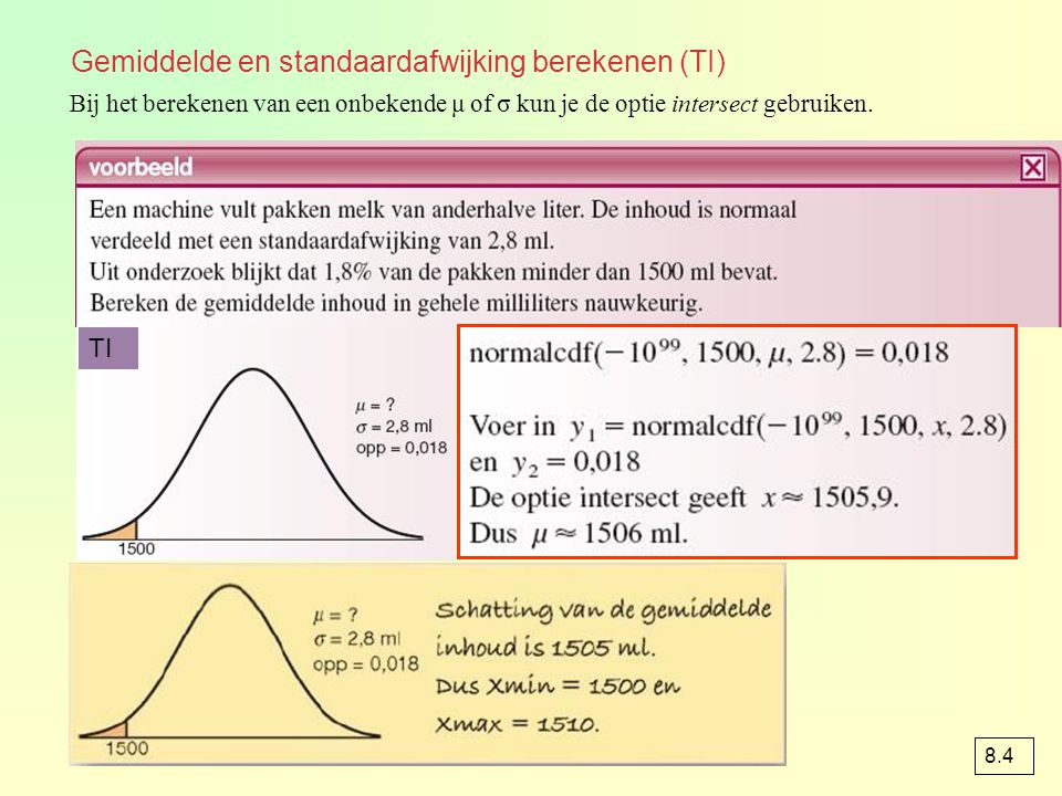 Gemiddelde en standaardafwijking berekenen (TI)