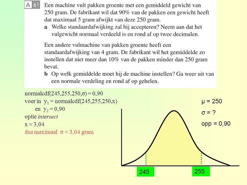 μ = 250 σ = opp = 0,90 245 255 TI normalcdf(245,255,250,σ) = 0,90