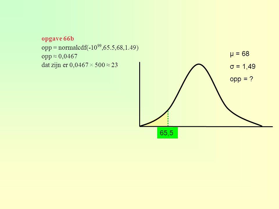 opgave 66b opp = normalcdf(-1099,65.5,68,1.49) opp ≈ 0,0467. dat zijn er 0,0467 × 500 ≈ 23. μ = 68.