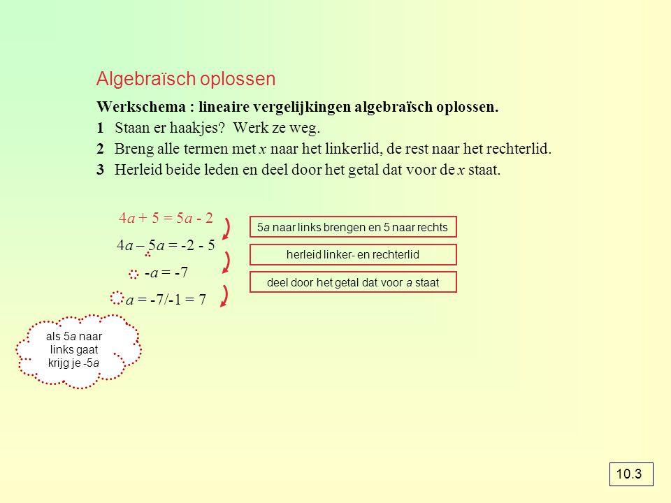 Algebraïsch oplossen Werkschema : lineaire vergelijkingen algebraïsch oplossen. 1 Staan er haakjes Werk ze weg.