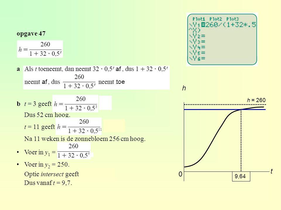 h t opgave 47 a b t = 3 geeft = 52 Dus 52 cm hoog. t = 11 geeft = 256