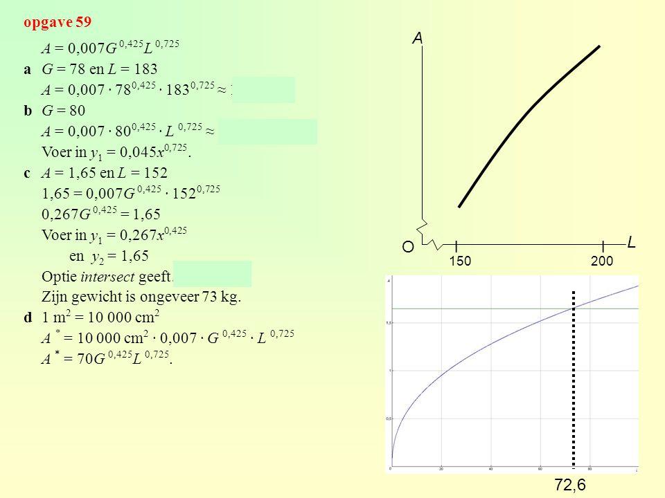 A L O l l 72,6 opgave 59 A = 0,007G 0,425L 0,725 a G = 78 en L = 183