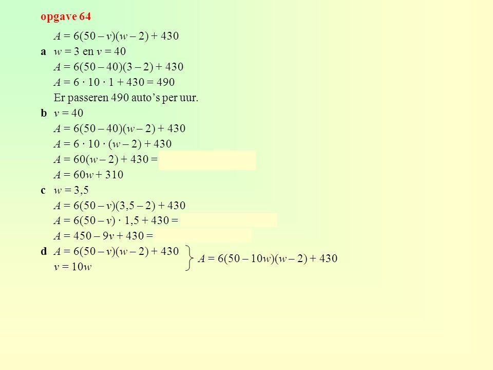 opgave 64 A = 6(50 – v)(w – 2) + 430. a w = 3 en v = 40. A = 6(50 – 40)(3 – 2) + 430. A = 6 · 10 · 1 + 430 = 490.