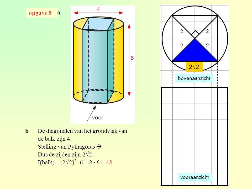2√2 opgave 9 a b De diagonalen van het grondvlak van de balk zijn 4.