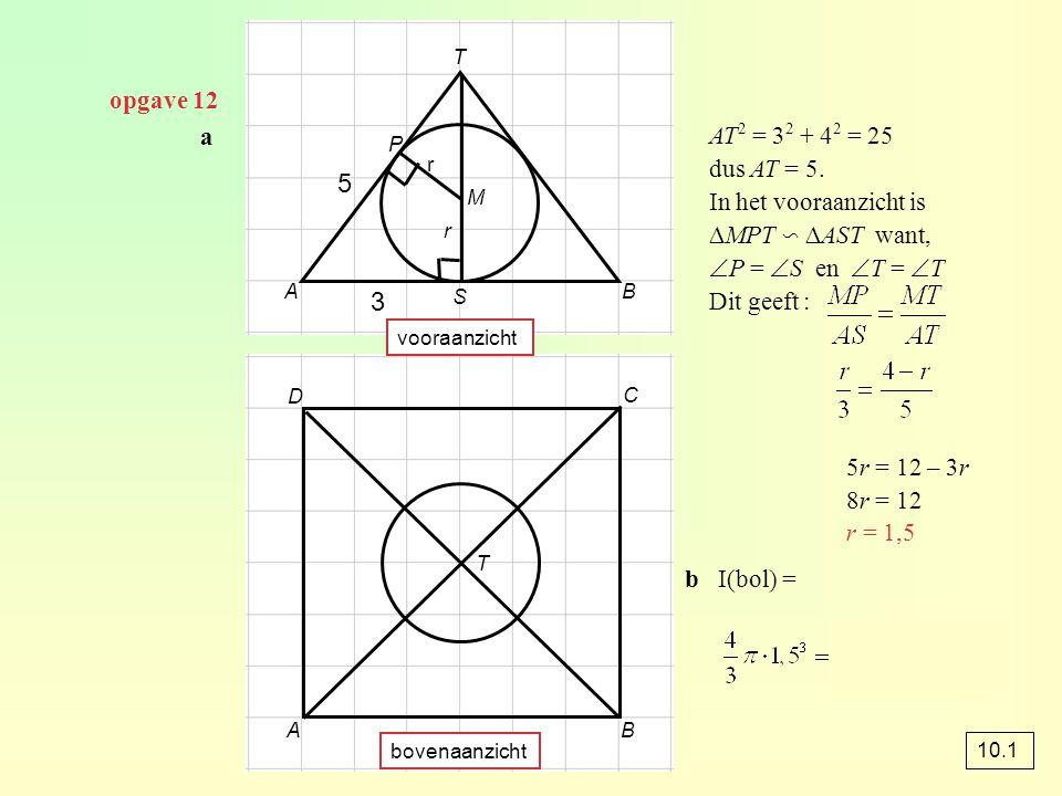 5 3 opgave 12 a AT2 = 32 + 42 = 25 dus AT = 5. In het vooraanzicht is
