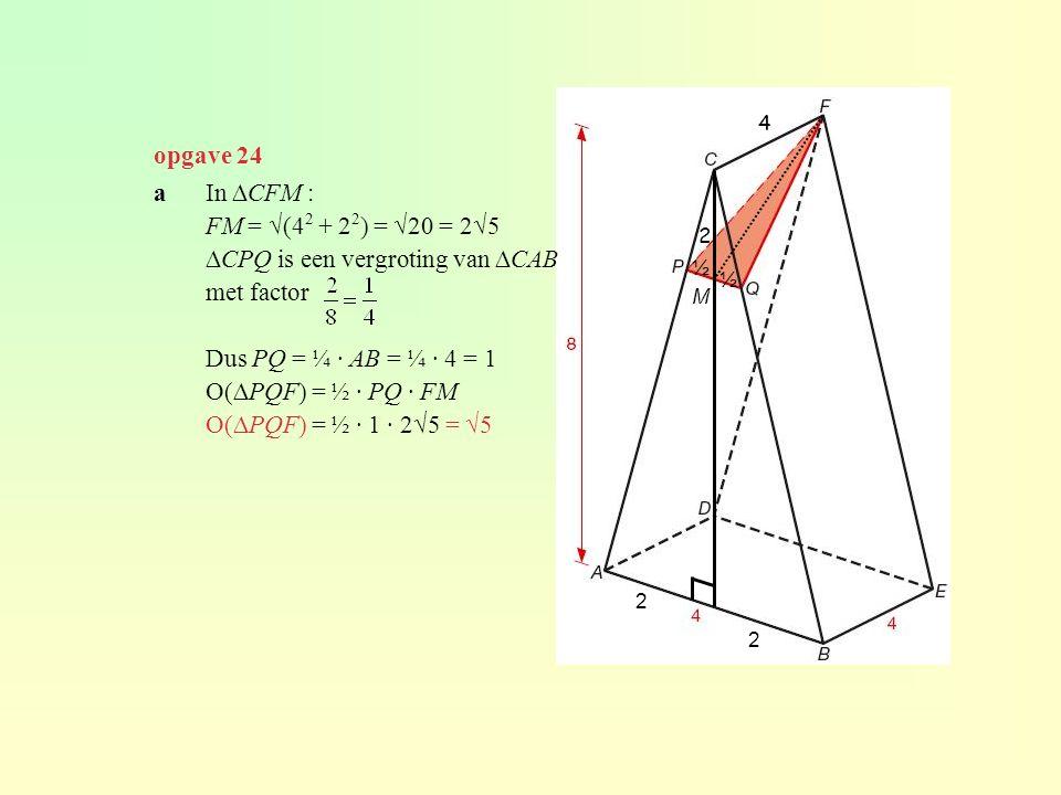 ∆CPQ is een vergroting van ∆CAB met factor Dus PQ = ¼ · AB = ¼ · 4 = 1