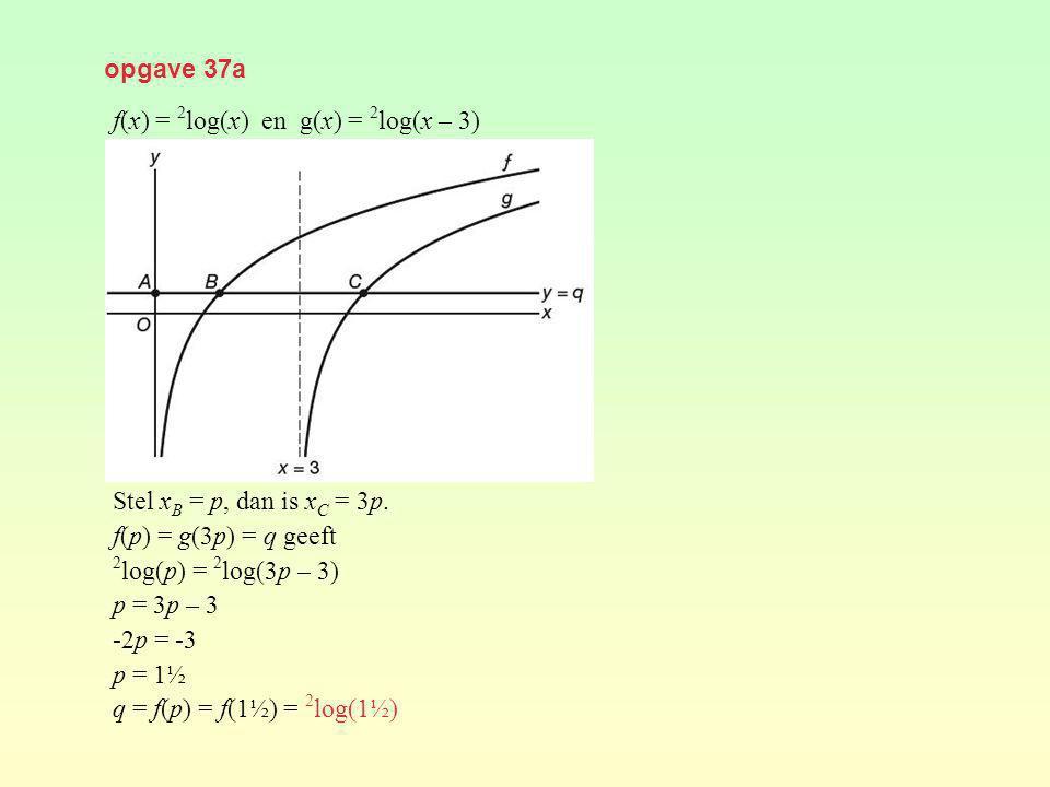 opgave 37a f(x) = 2log(x) en g(x) = 2log(x – 3) Stel xB = p, dan is xC = 3p. f(p) = g(3p) = q geeft.