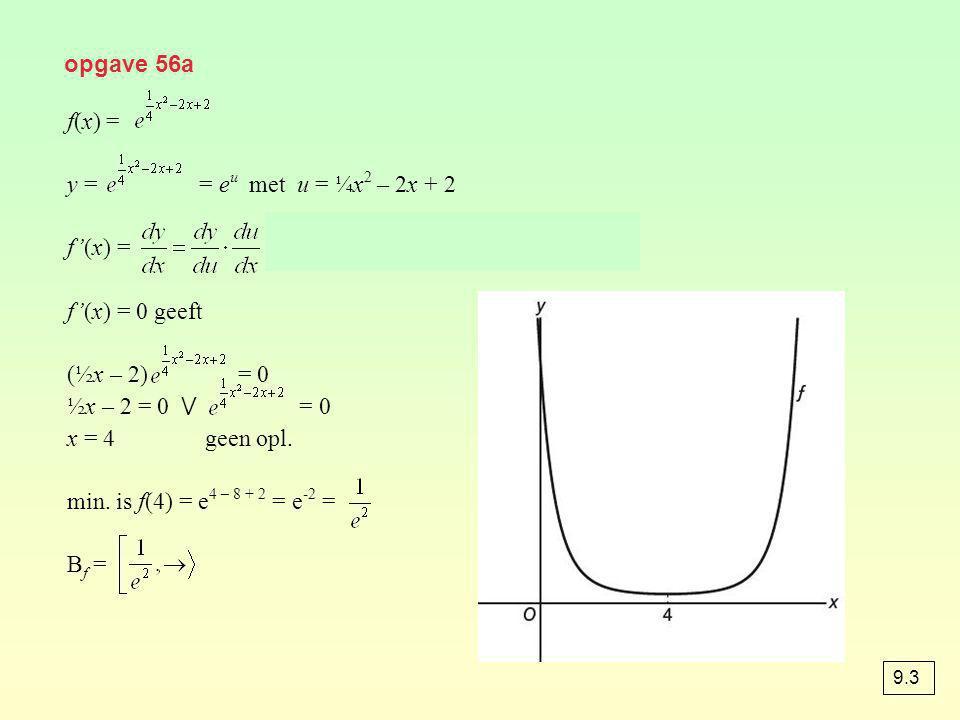 f'(x) = = eu · (½x – 2) = (½x – 2) f'(x) = 0 geeft (½x – 2) = 0
