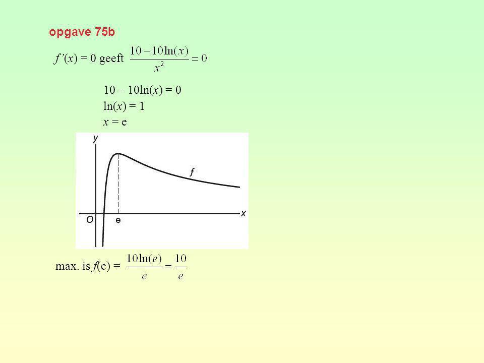 opgave 75b f'(x) = 0 geeft 10 – 10ln(x) = 0 ln(x) = 1 x = e max. is f(e) =