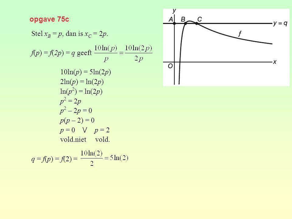 opgave 75c Stel xB = p, dan is xC = 2p. f(p) = f(2p) = q geeft. 10ln(p) = 5ln(2p) 2ln(p) = ln(2p)