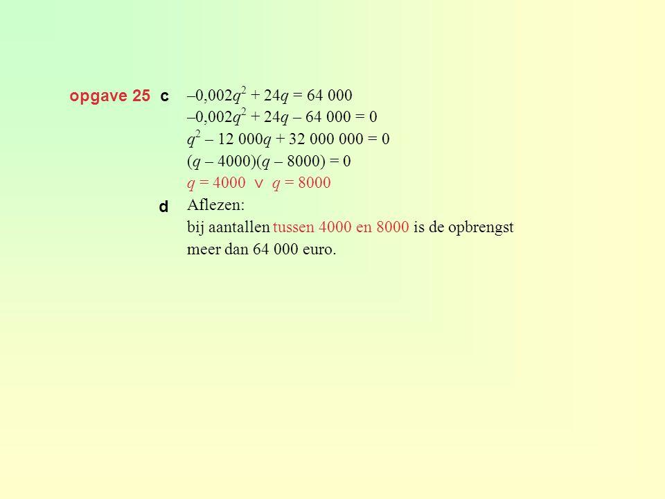 opgave 25 c –0,002q2 + 24q = 64 000. –0,002q2 + 24q – 64 000 = 0. q2 – 12 000q + 32 000 000 = 0.