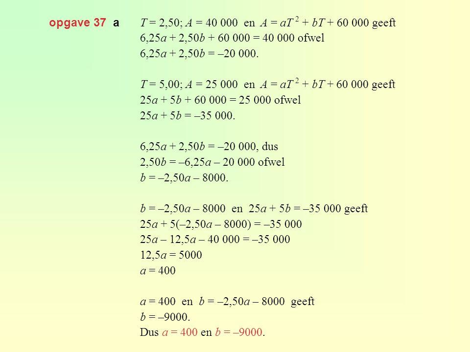 opgave 37 a T = 2,50; A = 40 000 en A = aT 2 + bT + 60 000 geeft. 6,25a + 2,50b + 60 000 = 40 000 ofwel.