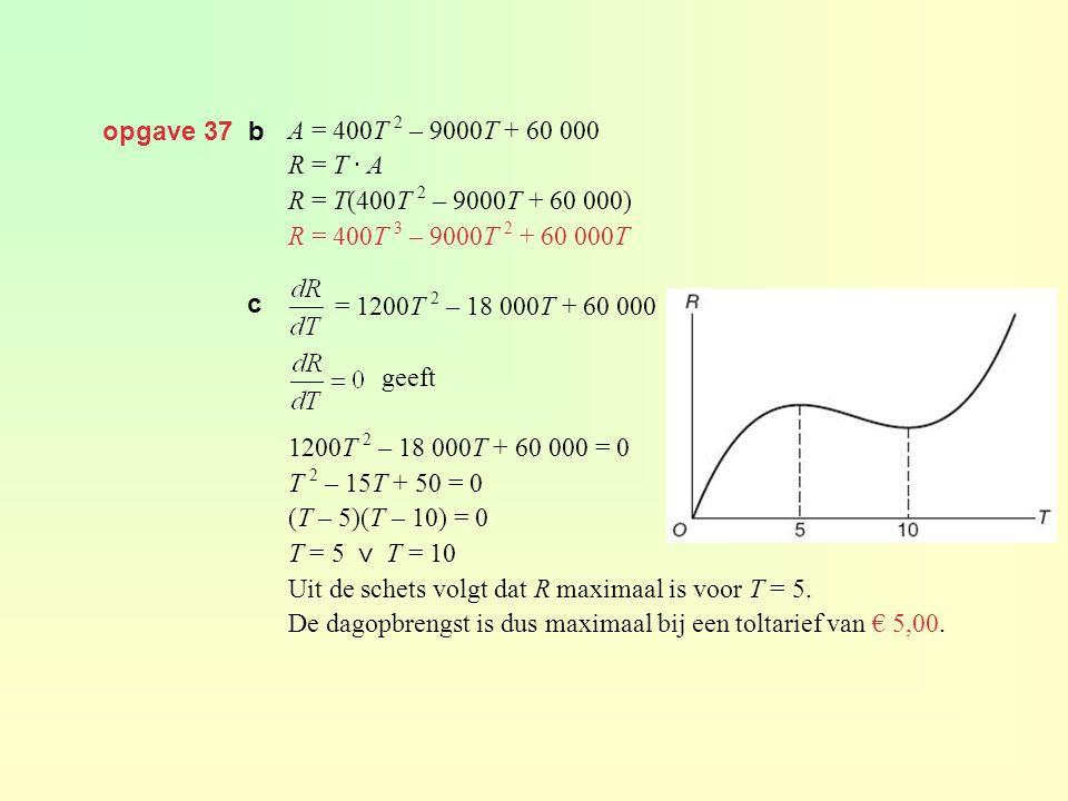 opgave 37 b A = 400T 2 – 9000T + 60 000. R = T · A. R = T(400T 2 – 9000T + 60 000) R = 400T 3 – 9000T 2 + 60 000T.