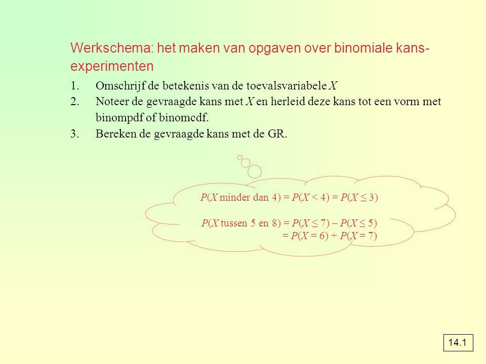 Werkschema: het maken van opgaven over binomiale kans- experimenten
