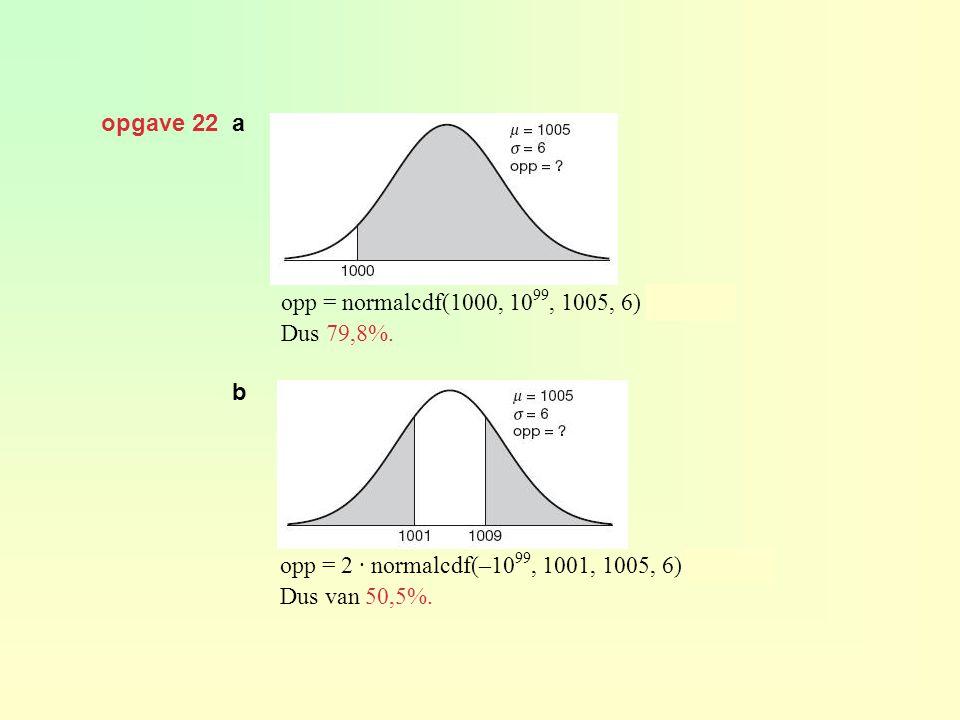 opgave 22 a opp = normalcdf(1000, 1099, 1005, 6) ≈ 0,798. Dus 79,8%. b. opp = 2 · normalcdf(–1099, 1001, 1005, 6) ≈ 0,505.