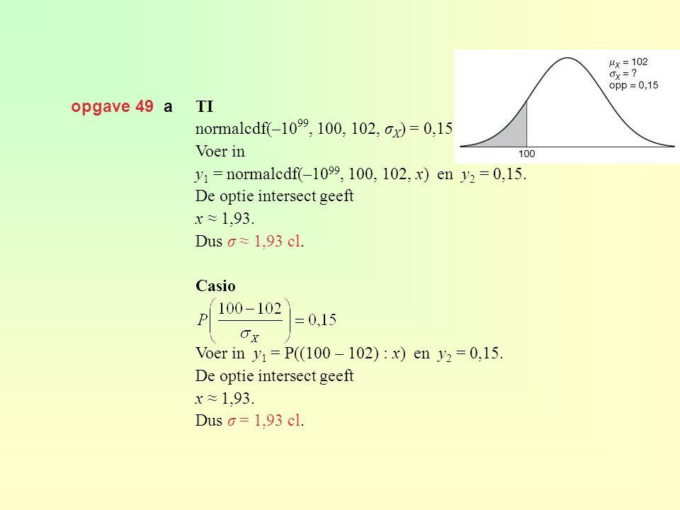 opgave 49 a TI. normalcdf(–1099, 100, 102, σX) = 0,15. Voer in. y1 = normalcdf(–1099, 100, 102, x) en y2 = 0,15.