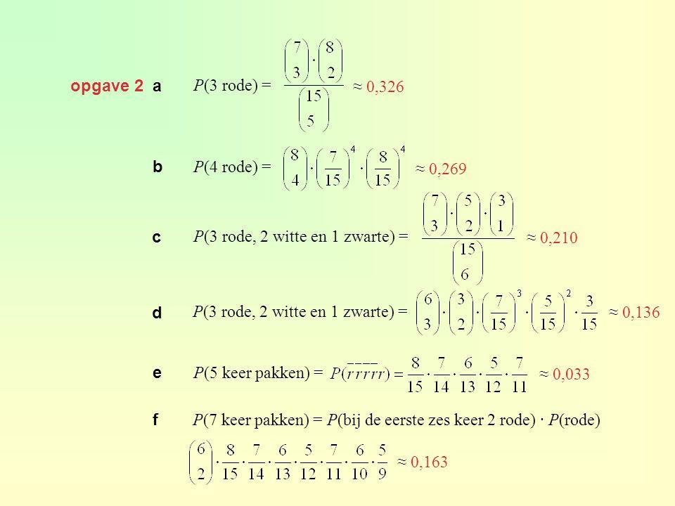opgave 2 a P(3 rode) = ≈ 0,326. b. P(4 rode) = ≈ 0,269. c. P(3 rode, 2 witte en 1 zwarte) = ≈ 0,210.