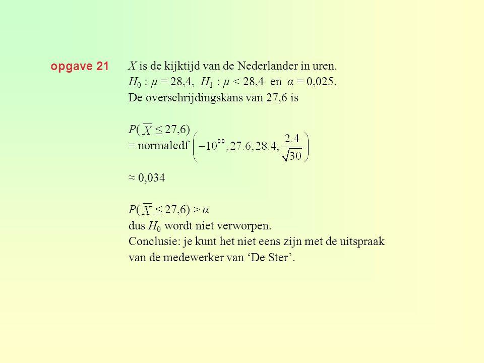 opgave 21 X is de kijktijd van de Nederlander in uren. H0 : µ = 28,4, H1 : µ < 28,4 en α = 0,025.