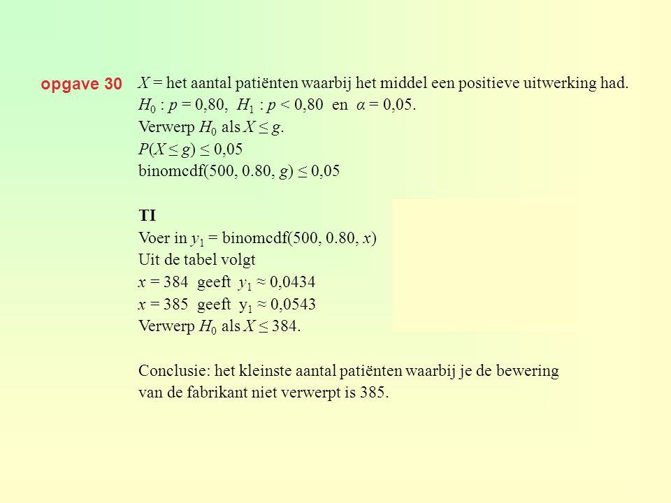 opgave 30 X = het aantal patiënten waarbij het middel een positieve uitwerking had. H0 : p = 0,80, H1 : p < 0,80 en α = 0,05.