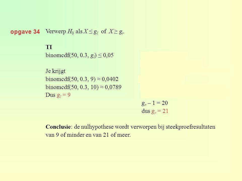opgave 34 Verwerp H0 als X ≤ gl of X ≥ gr. TI. binomcdf(50, 0.3, gl) ≤ 0,05 P(X ≤ gr) ≤ 0,05.