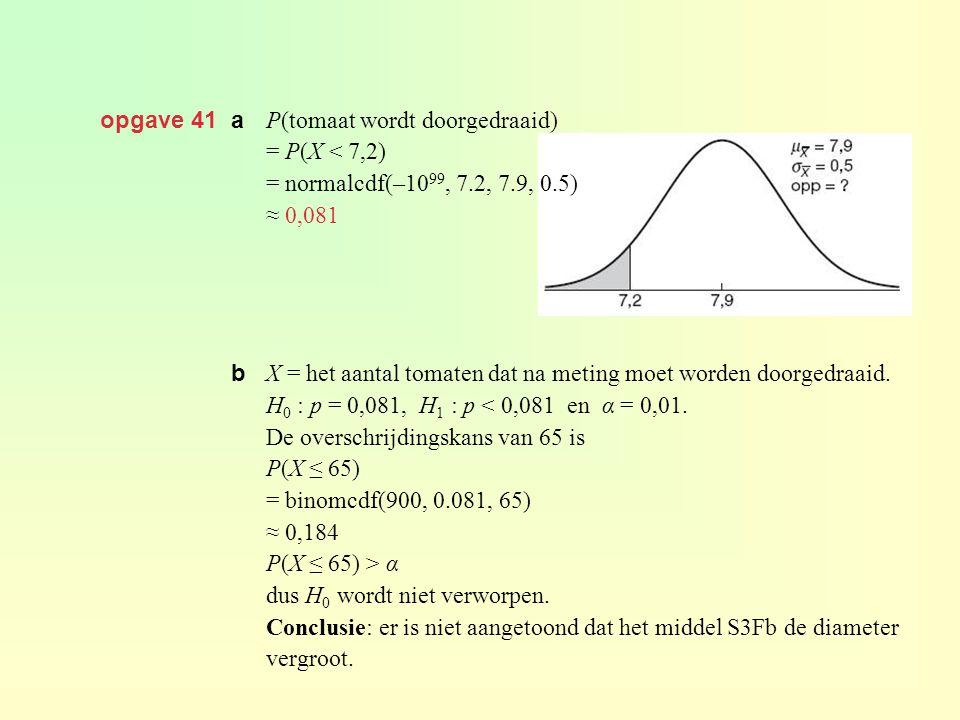 opgave 41 a P(tomaat wordt doorgedraaid) = P(X < 7,2) = normalcdf(–1099, 7.2, 7.9, 0.5) ≈ 0,081.