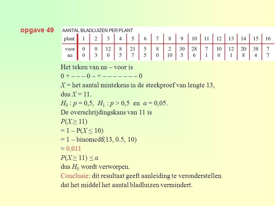 opgave 49 Het teken van na – voor is. 0 + – – – 0 – + – – – – – – – 0. X = het aantal mintekens in de steekproef van lengte 13,