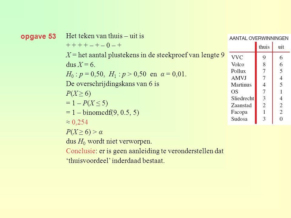 opgave 53 Het teken van thuis – uit is. + + + + – + – 0 – + X = het aantal plustekens in de steekproef van lengte 9.