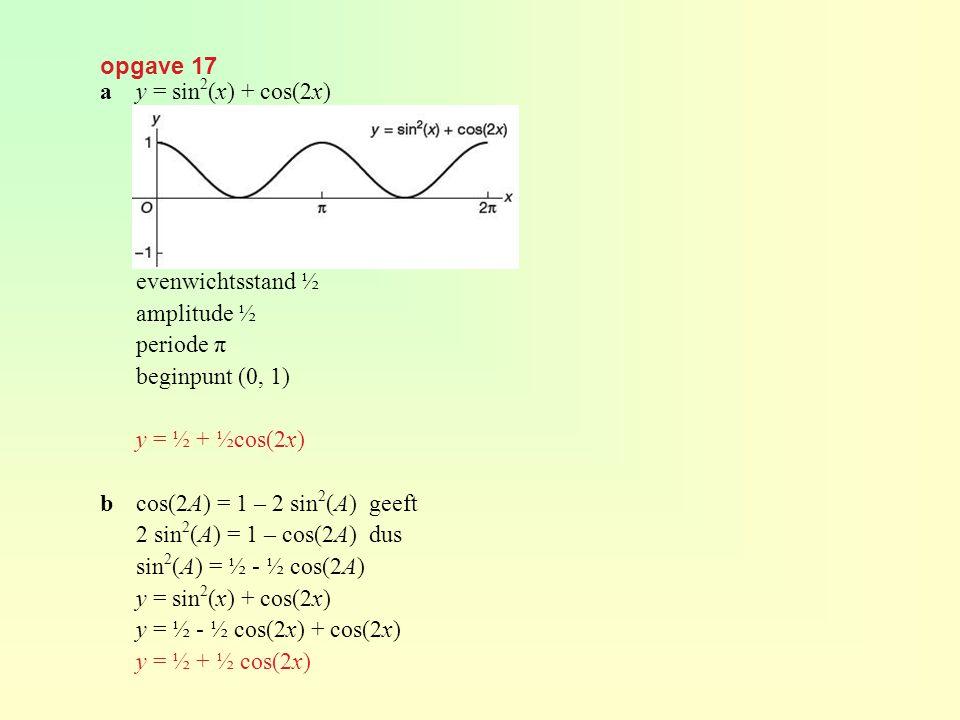 opgave 17 a y = sin2(x) + cos(2x) evenwichtsstand ½. amplitude ½. periode π. beginpunt (0, 1) y = ½ + ½cos(2x)