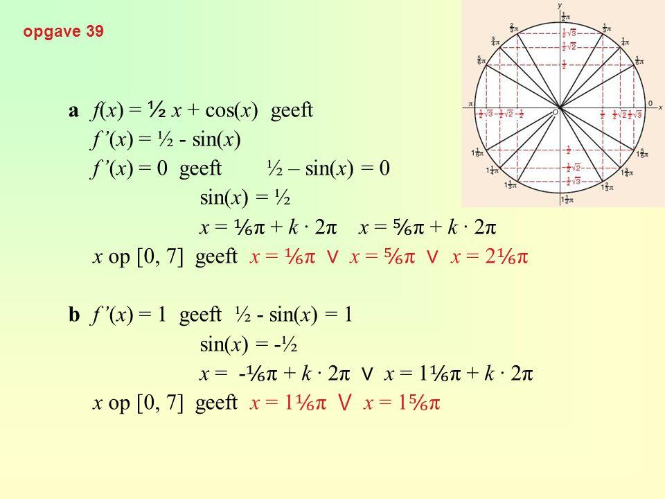 a f(x) = ½ x + cos(x) geeft f'(x) = ½ - sin(x)