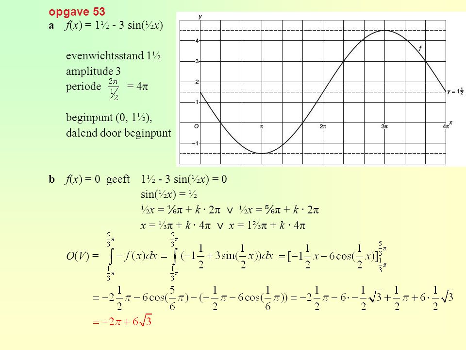 opgave 53 a f(x) = 1½ - 3 sin(½x) evenwichtsstand 1½. amplitude 3. periode = 4π. beginpunt (0, 1½),