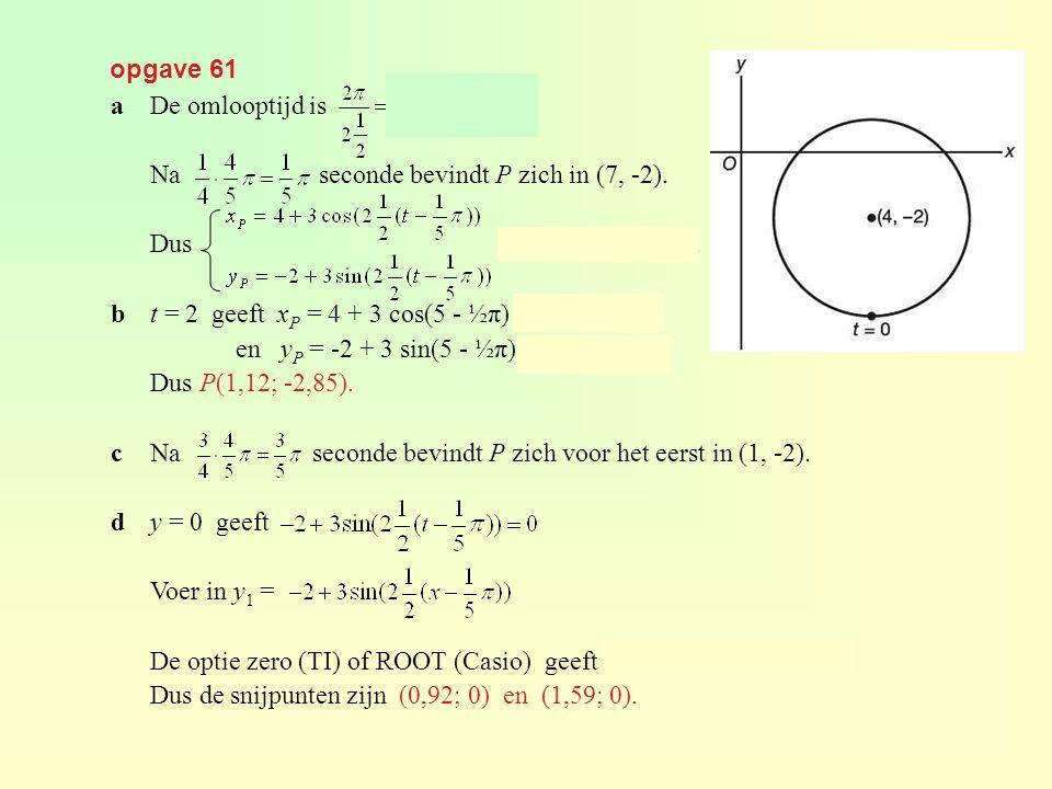 opgave 61 a De omlooptijd is seconden. Na seconde bevindt P zich in (7, -2).