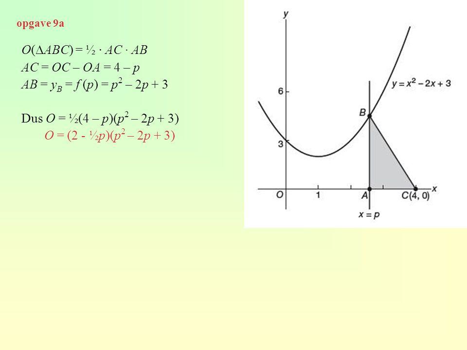 O(∆ABC) = ½ · AC · AB AC = OC – OA = 4 – p