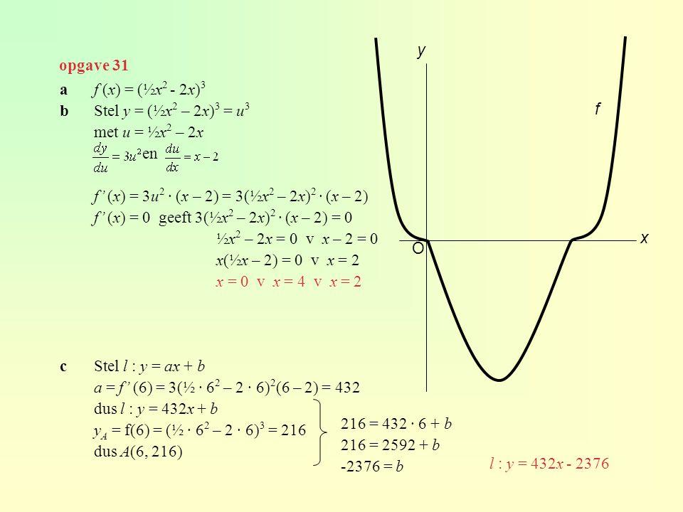 y opgave 31. a f (x) = (½x2 - 2x)3. b Stel y = (½x2 – 2x)3 = u3. met u = ½x2 – 2x. en. f' (x) = 3u2 · (x – 2) = 3(½x2 – 2x)2 · (x – 2)