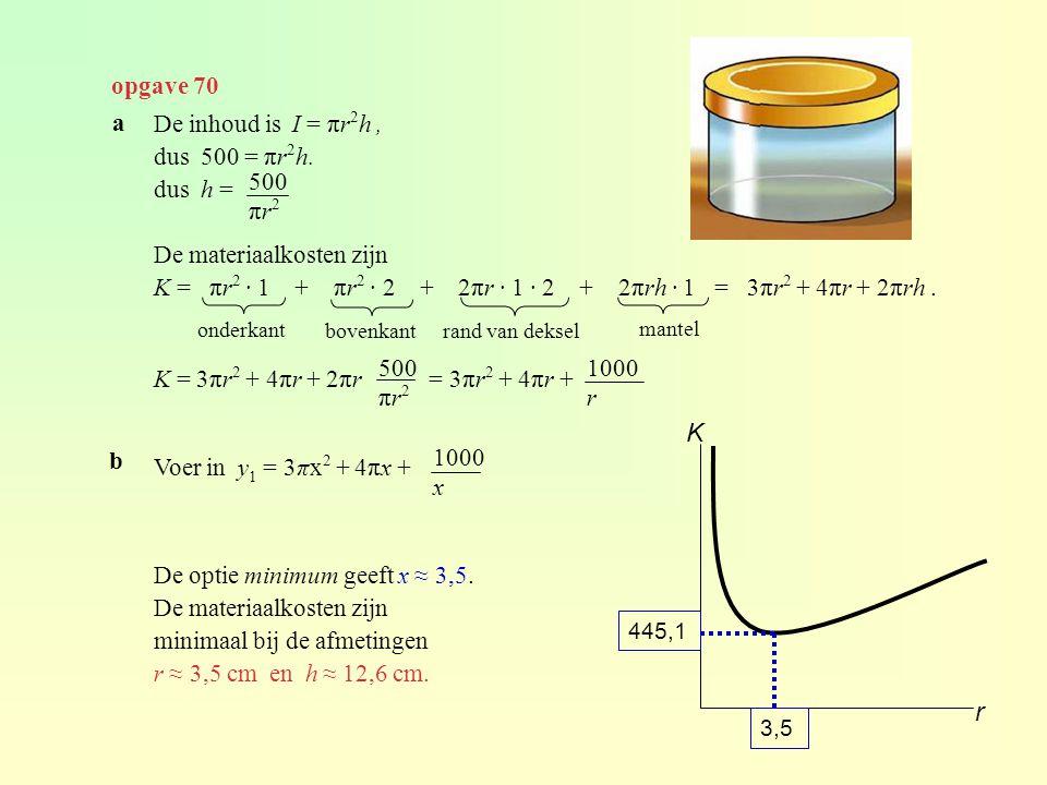 K r opgave 70 a De inhoud is I = πr2h , dus 500 = πr2h. dus h =