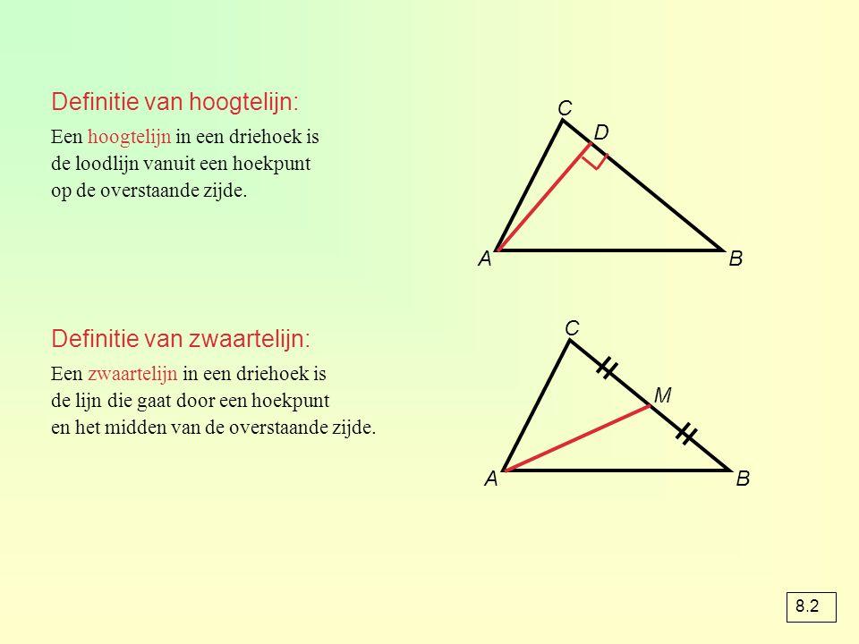 = = Definitie van hoogtelijn: Definitie van zwaartelijn: C D A B C M A
