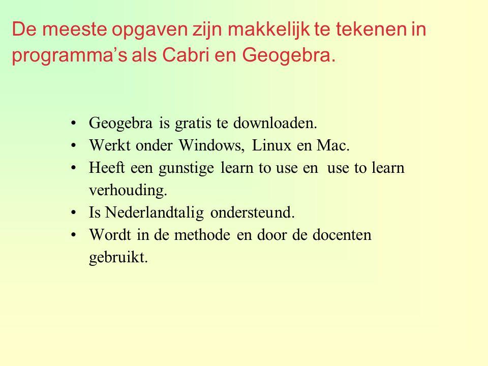 De meeste opgaven zijn makkelijk te tekenen in programma's als Cabri en Geogebra.
