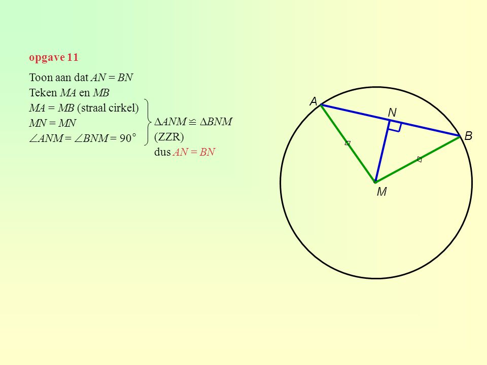 ∙ A N B ◊ ◊ M opgave 11 Toon aan dat AN = BN Teken MA en MB