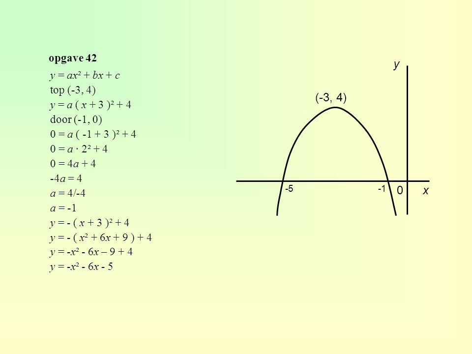 y (-3, 4) x opgave 42 y = ax² + bx + c top (-3, 4)