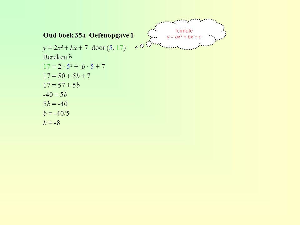 Oud boek 35a Oefenopgave 1 y = 2x² + bx + 7 door (5, 17) Bereken b