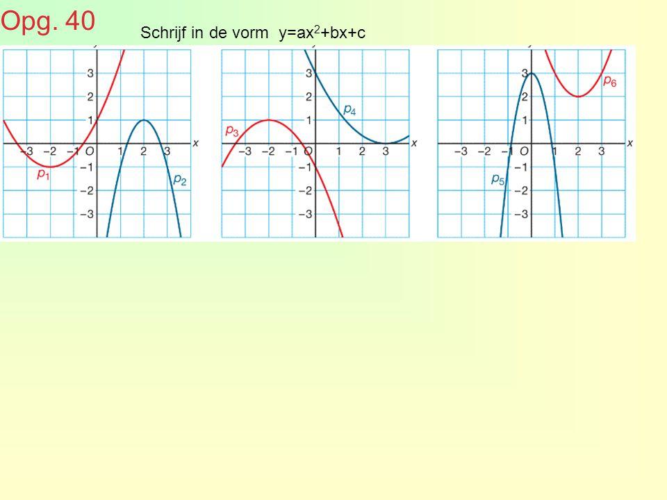 Opg. 40 Schrijf in de vorm y=ax2+bx+c