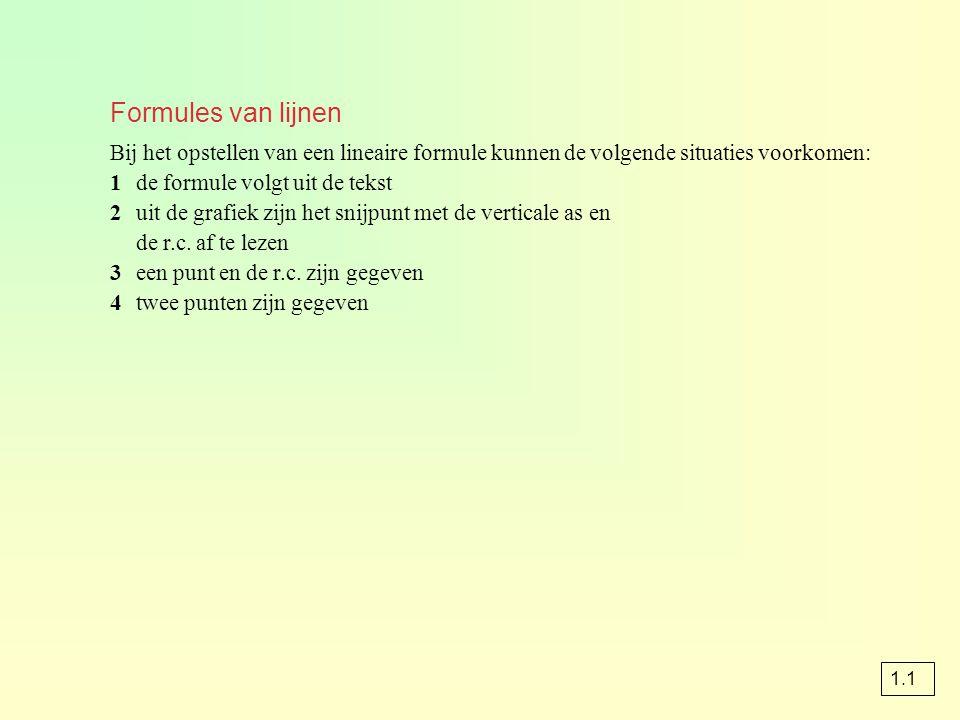 Formules van lijnen Bij het opstellen van een lineaire formule kunnen de volgende situaties voorkomen: