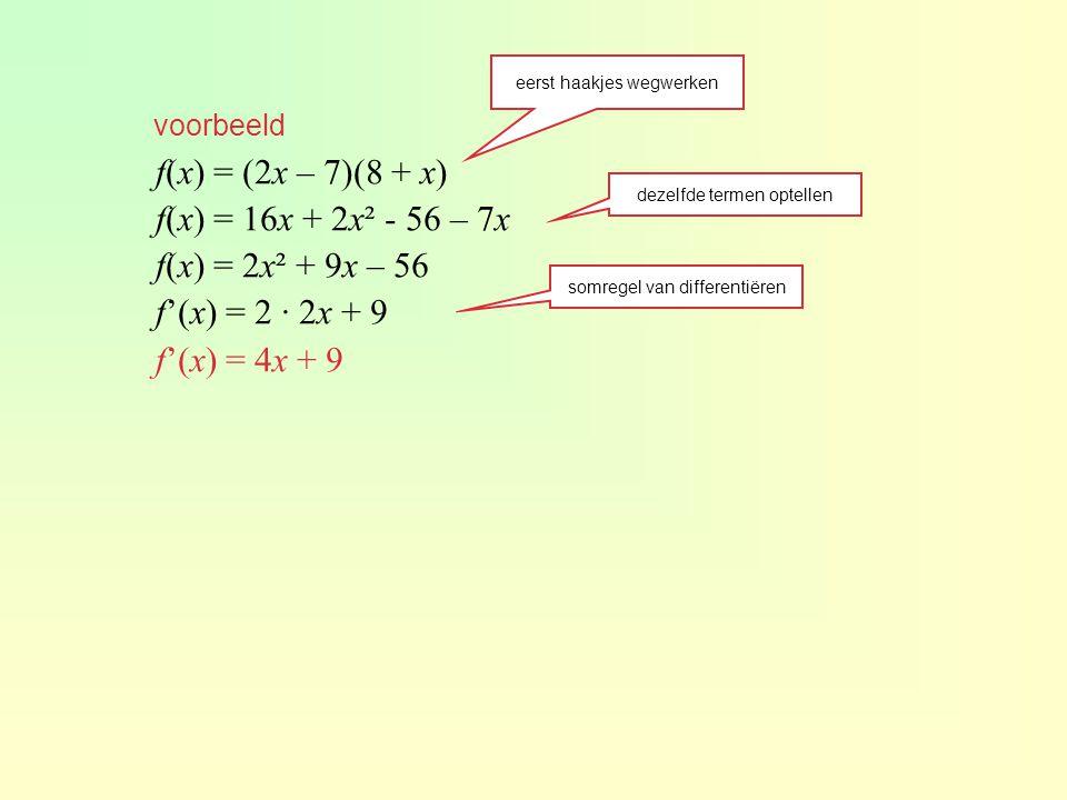 f(x) = (2x – 7)(8 + x) f(x) = 16x + 2x² - 56 – 7x f(x) = 2x² + 9x – 56
