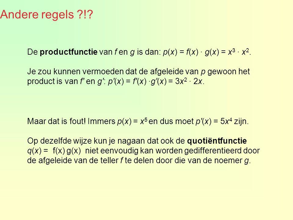 Andere regels ! De productfunctie van f en g is dan: p(x) = f(x) · g(x) = x3 · x2.