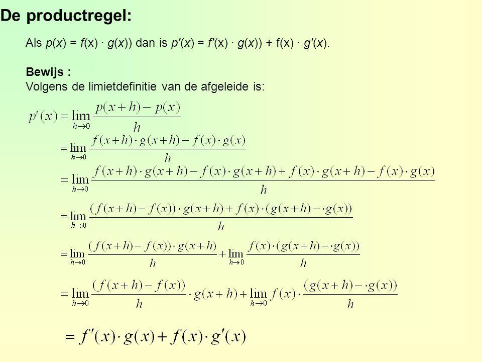 De productregel: Als p(x) = f(x) · g(x)) dan is p (x) = f (x) · g(x)) + f(x) · g (x).