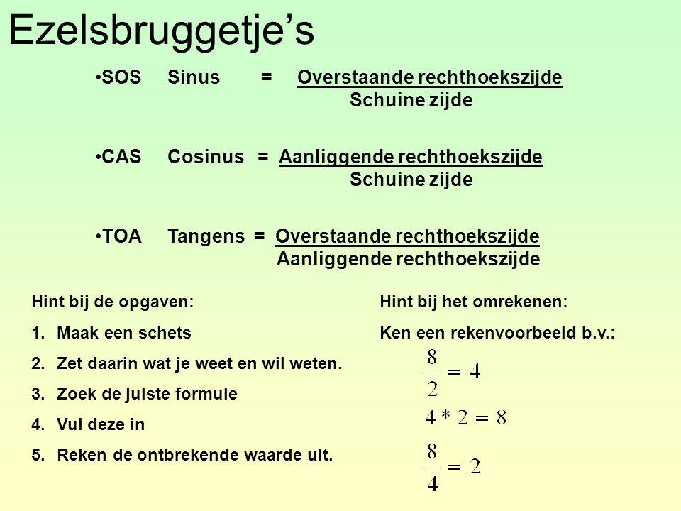 Ezelsbruggetje's SOS Sinus = Overstaande rechthoekszijde Schuine zijde