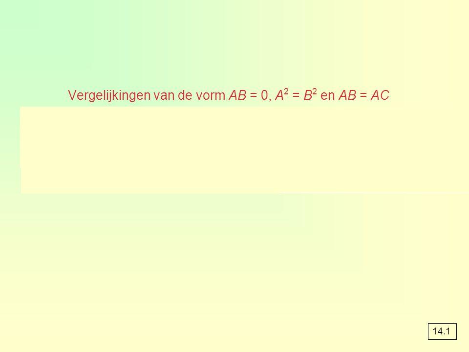 Vergelijkingen van de vorm AB = 0, A2 = B2 en AB = AC