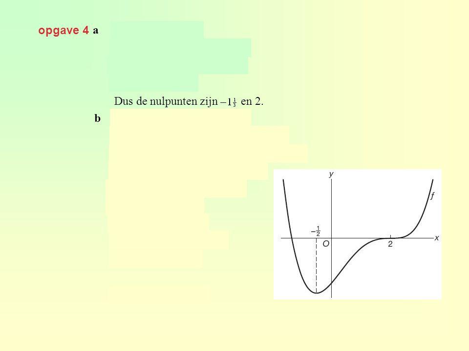 opgave 4 a geeft Dus de nulpunten zijn en 2. b geeft geeft