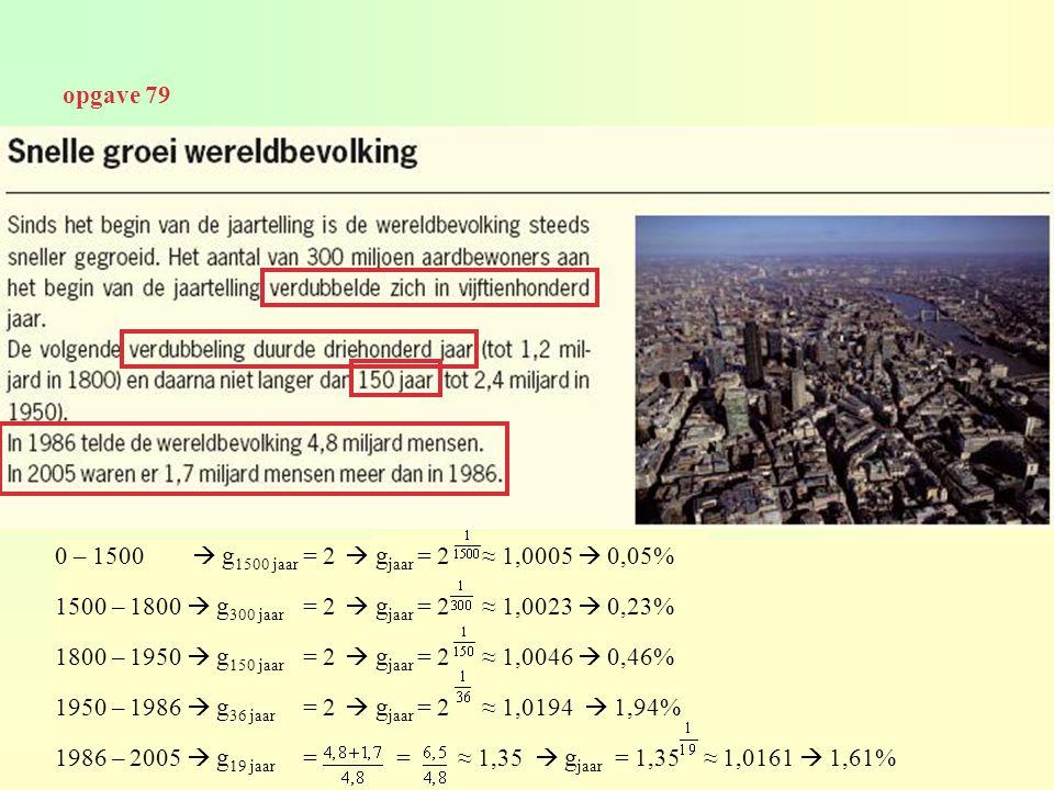 opgave 79 0 – 1500  g1500 jaar = 2  gjaar = 2 ≈ 1,0005  0,05% 1500 – 1800  g300 jaar = 2  gjaar = 2 ≈ 1,0023  0,23%
